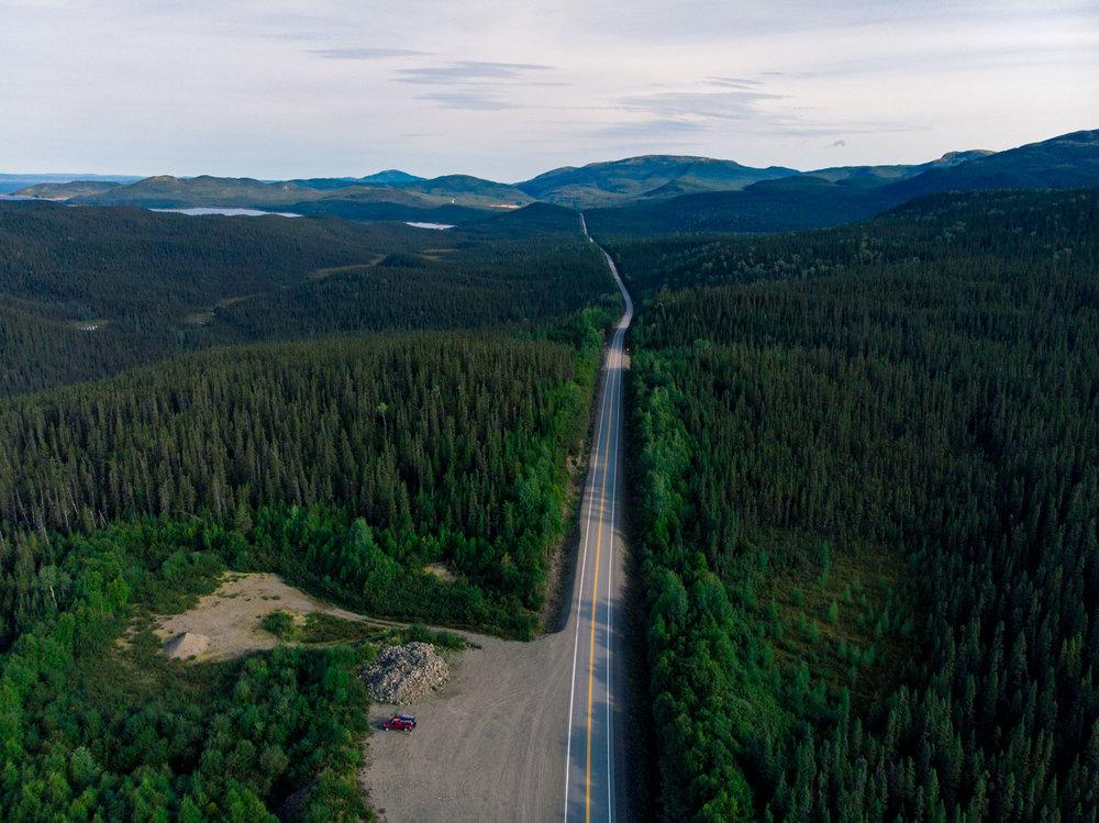 Highway heading south near Lac Manicouagan, Quebec