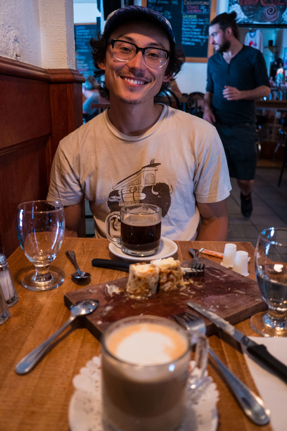 Owen enjoying our first Crepe and Latte in Quebec City