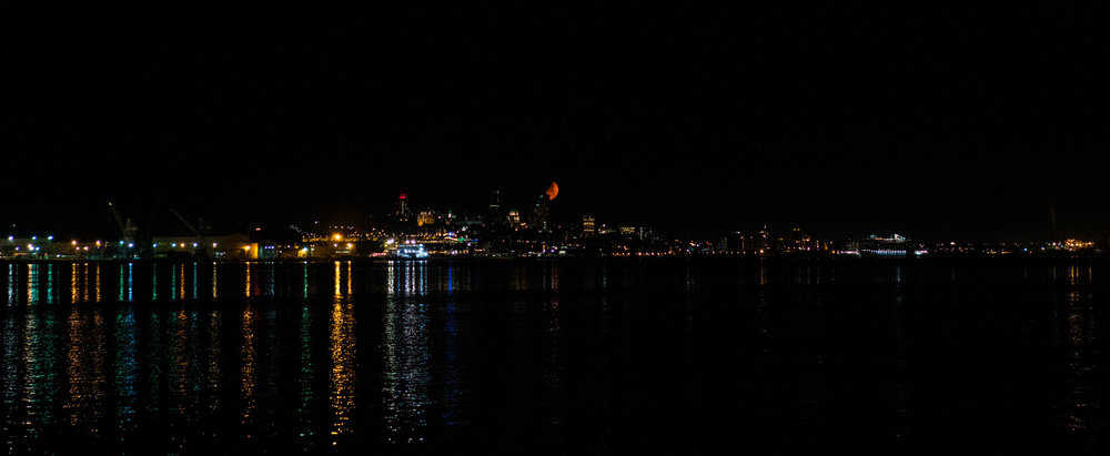 Our view from camp across the water from downtown Quebec City. The moon was so orange that night!