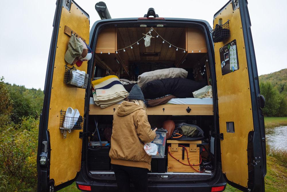 Katie with her van