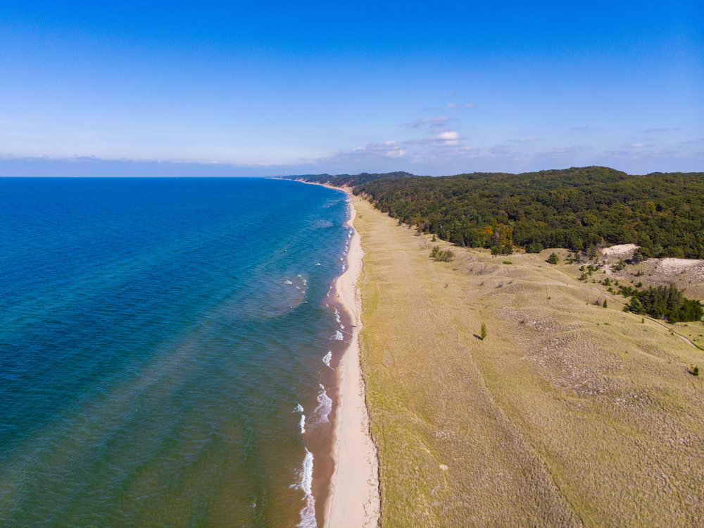 Aerial shot of Saugatuck Dunes State Park once we made it out to the coast