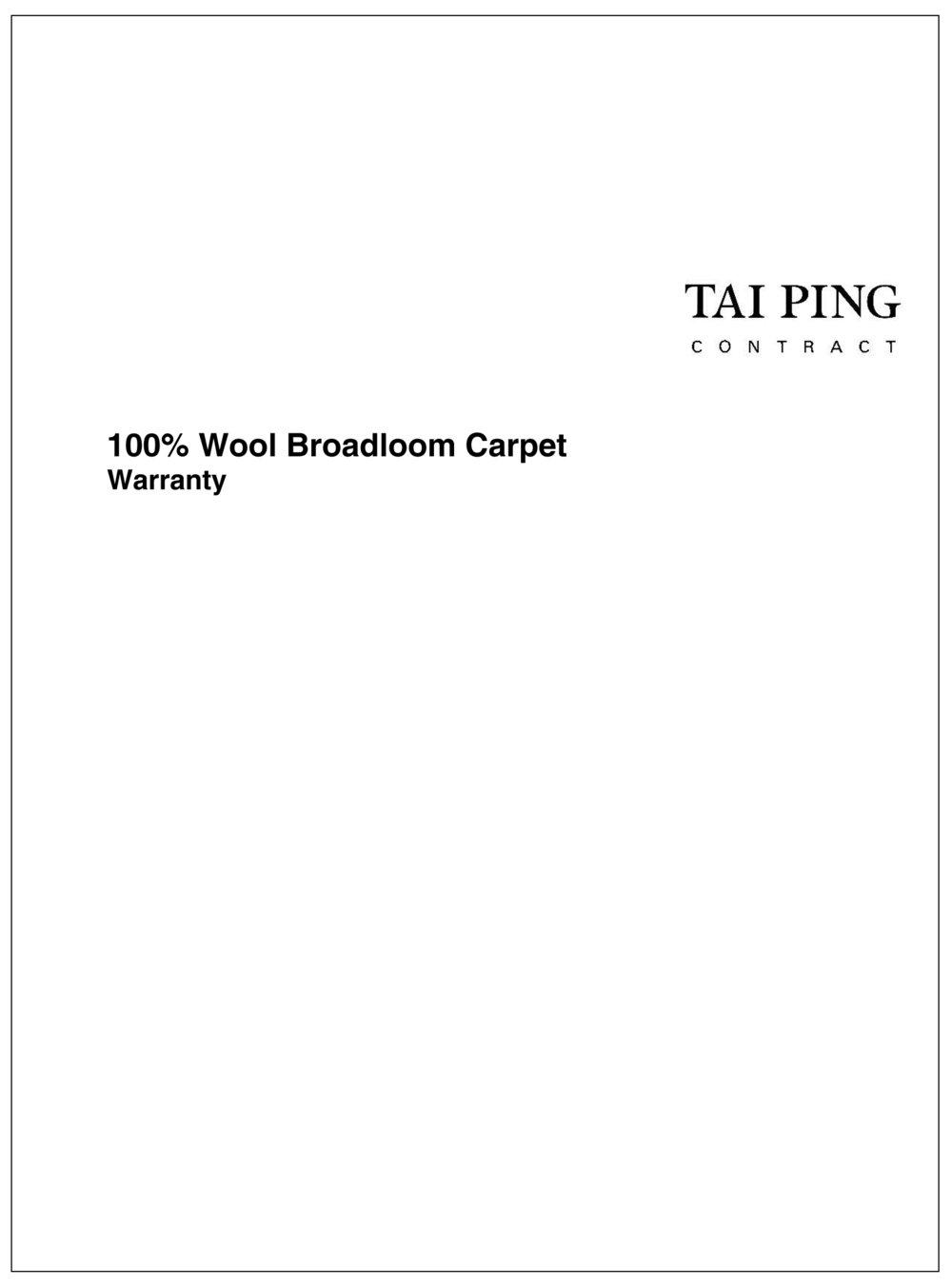 Wool Tufted Broadloom Warranty