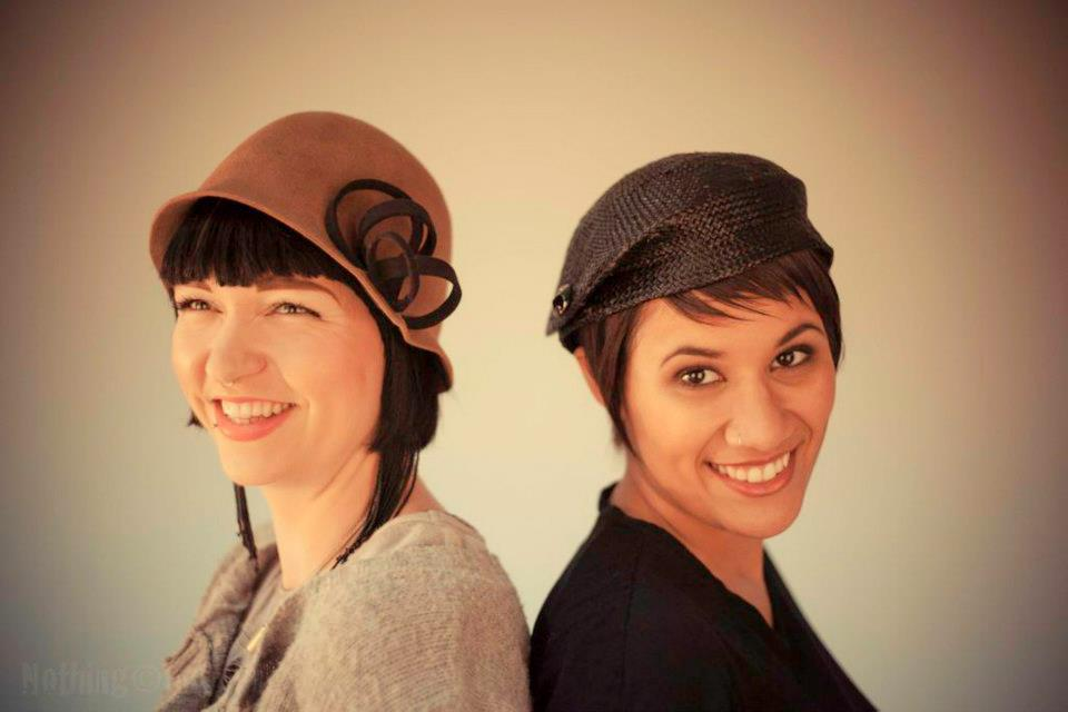 """Caroline"" Velour Felt Cloche with Spiral Felt Trim and ""Patty"" Vintage Straw Beret - Nothing Images-2013"