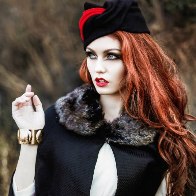 """Little Red Riding Hood"" Spec Shoot- 2014-Featuring Corina Haywood Hats' ""Dashe"" Hand Draped Felt Turban"