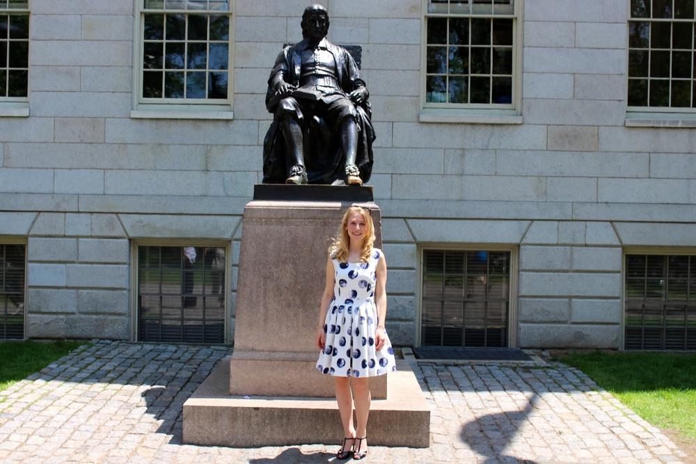 With John Harvard, in Harvard Yard.