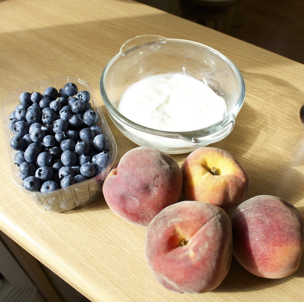 Blueberries, Peaches, and Natural Yogurt - no sugars added! :)