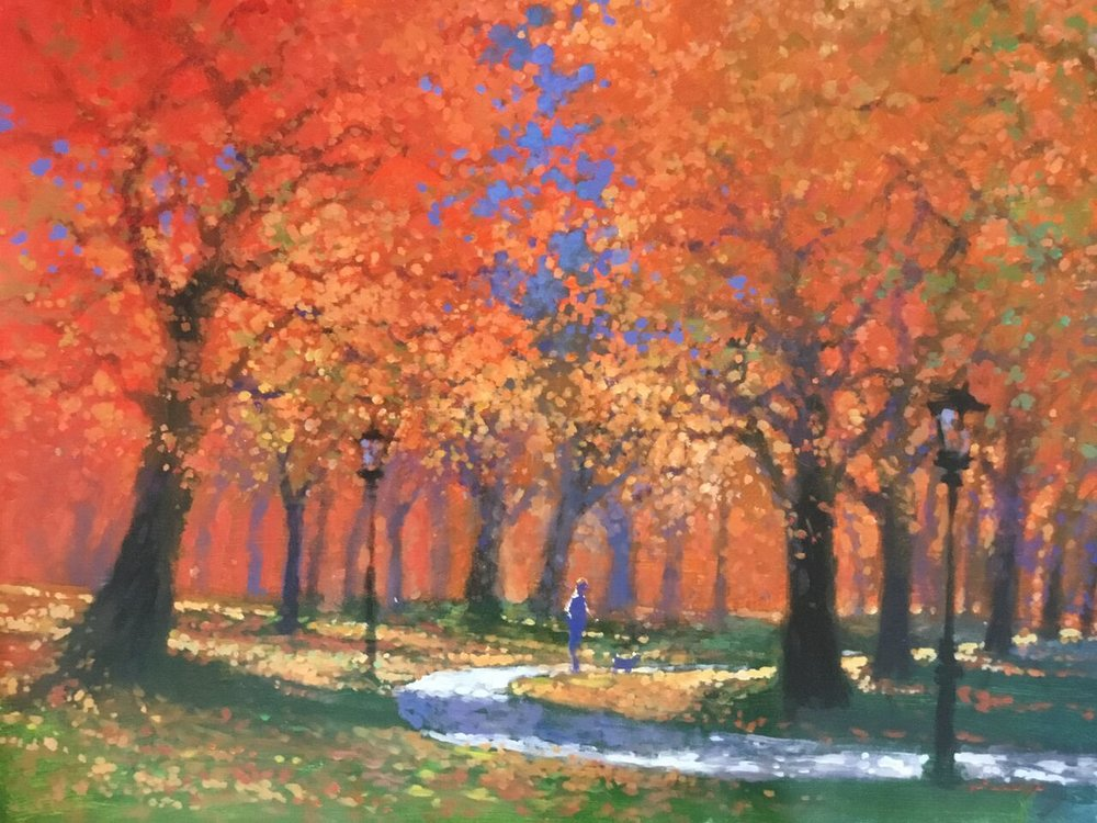 "David Hinchliffe ""Central Park Golden"" Acrylic on Canvas 33"" x 28"""
