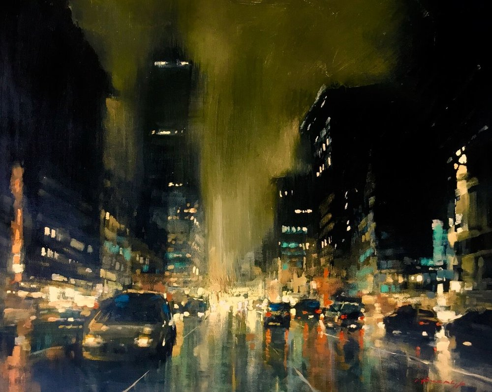 "David Hinchliffe ""Stormy Night"" Acrylic on Canvas 33"" x 27"""