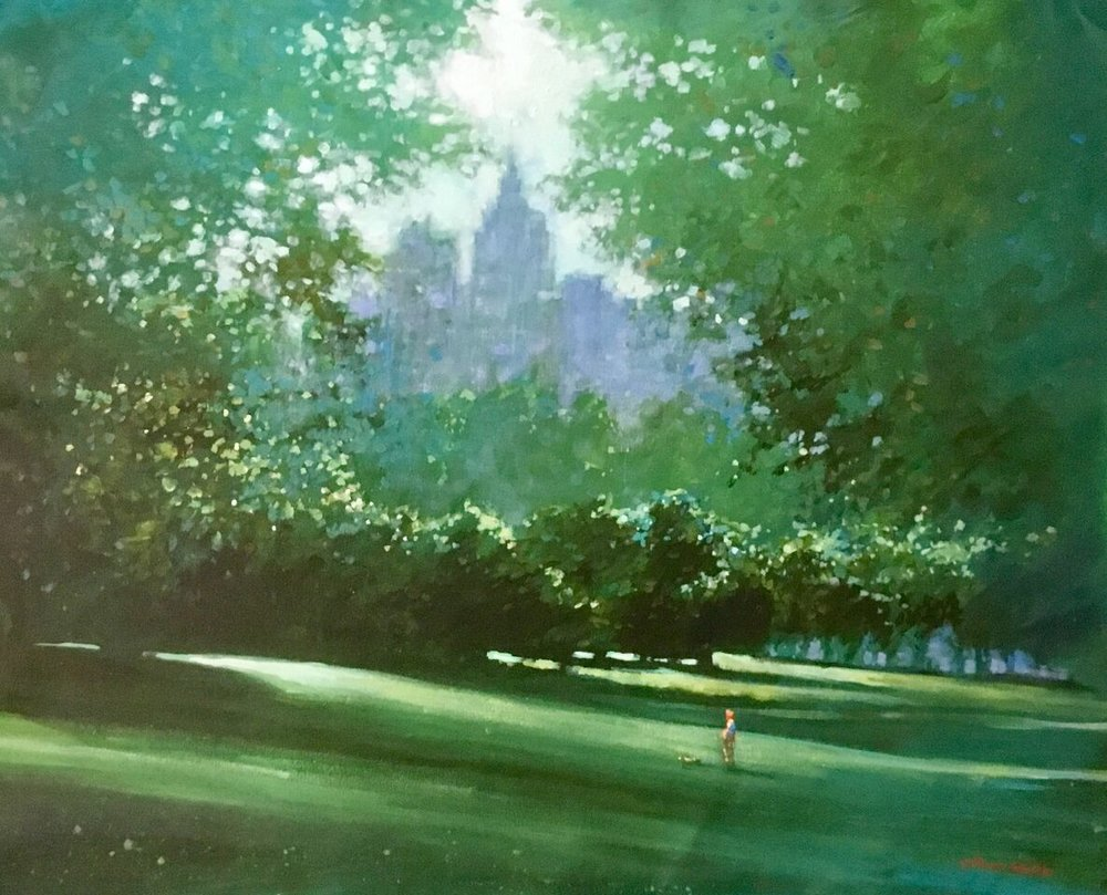 "David Hinchliffe ""Late Spring, Central Park"" Acrylic on Canvas 33"" x 27"""