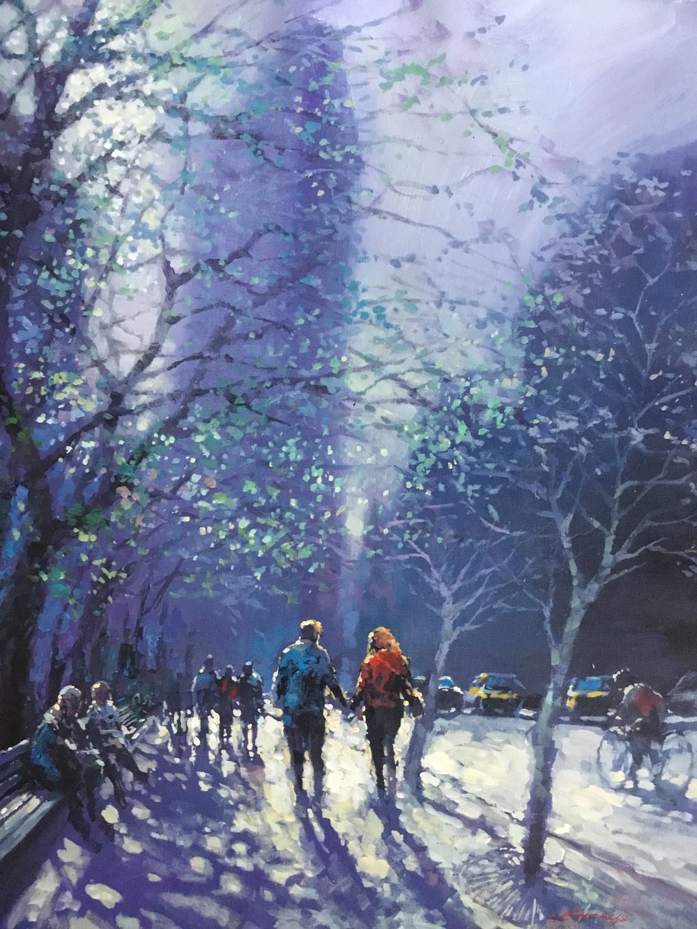 "David Hinchliffe ""Hand in Hand, Madison Square Park"" Acrylic on Canvas 27"" x 32"""
