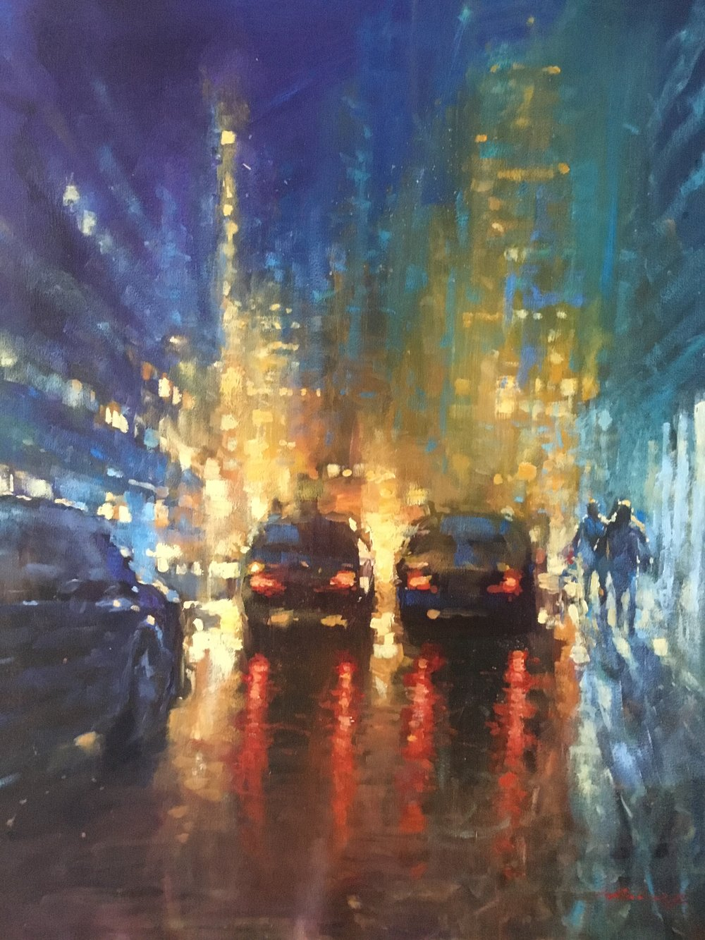 "David Hinchliffe ""Street Lights"" Acrylic on Canvas 24"" x 30.25"""