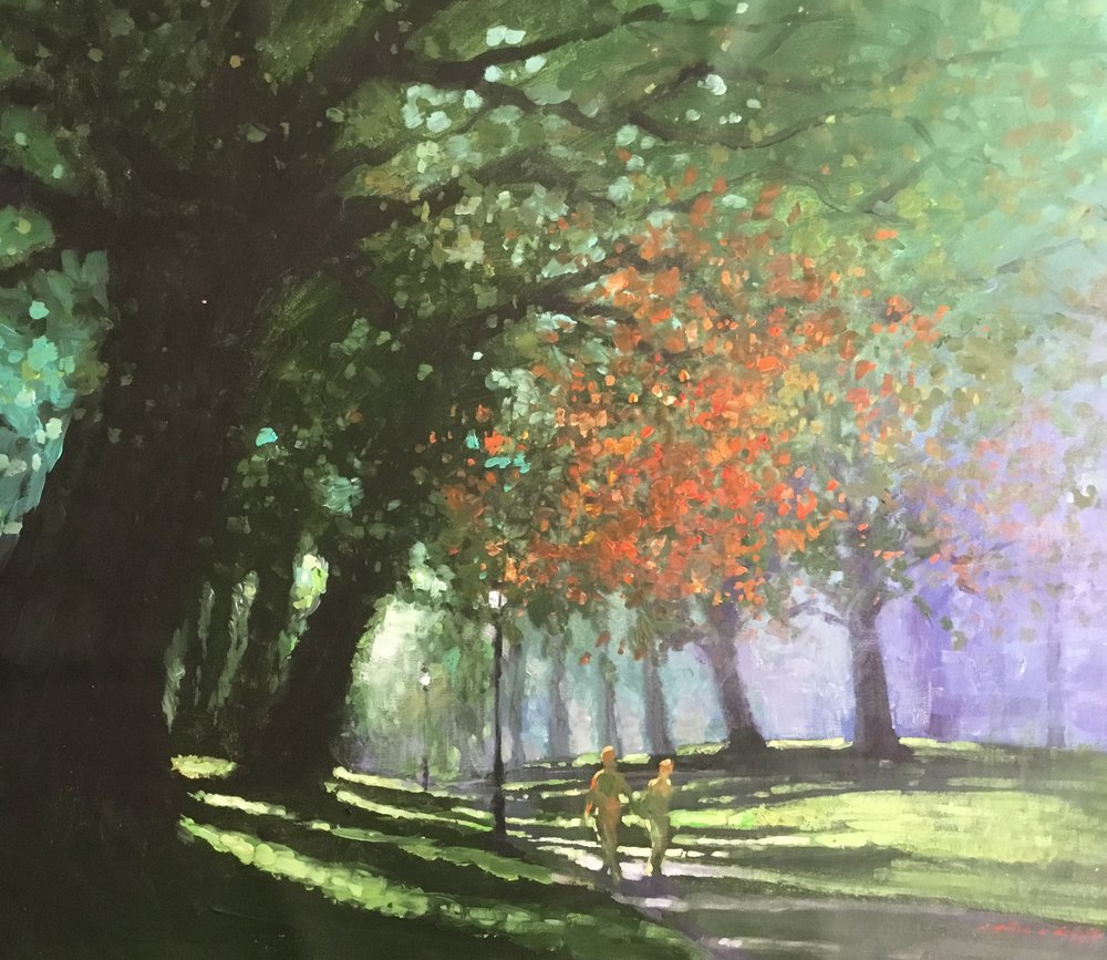 "David Hinchliffe ""A Touch of Fall"" Acrylic on Canvas 31"" x 29.5"" $2400"