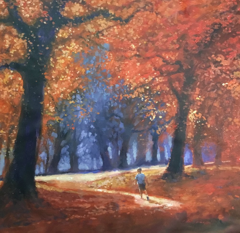 "David Hinchliffe ""Walk in the Park"" Acrylic on Canvas 32"" x 32"" $2650"