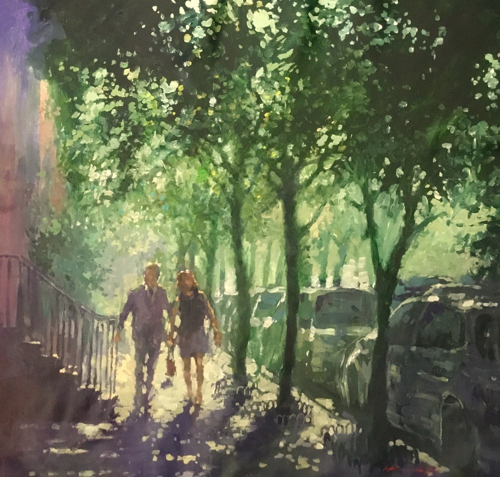 "David Hinchliffe ""Upper Westside Summer Morning"" Acrylic on Canvas 32"" x 32"""