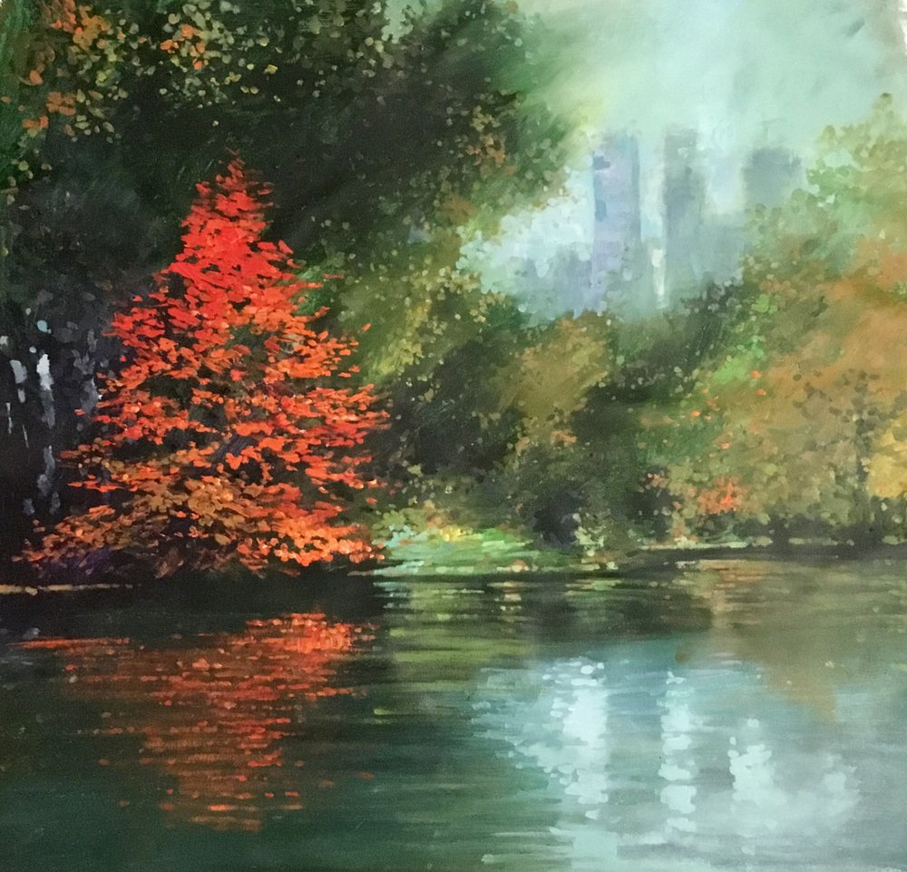 "David Hinchliffe ""November in Central Park"" Acrylic on Canvas 32"" x 32"""