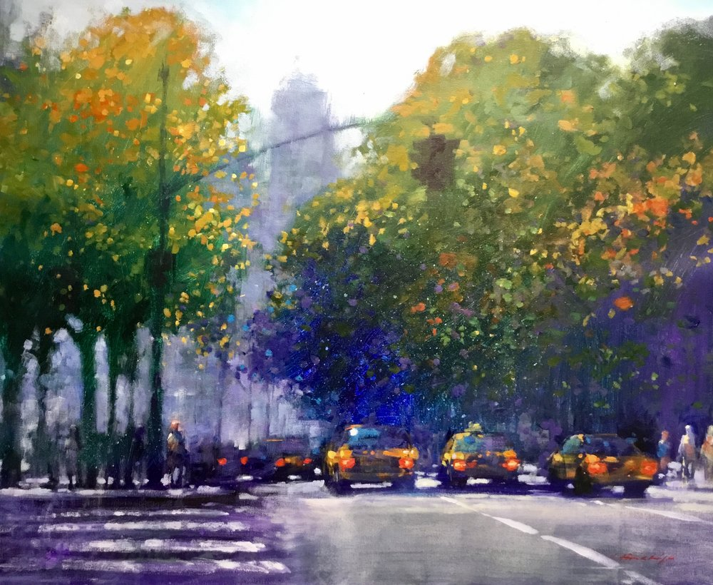 "David Hinchliffe ""Heading to Midtown"" Acrylic on Canvas 33"" x 28"" $2650"