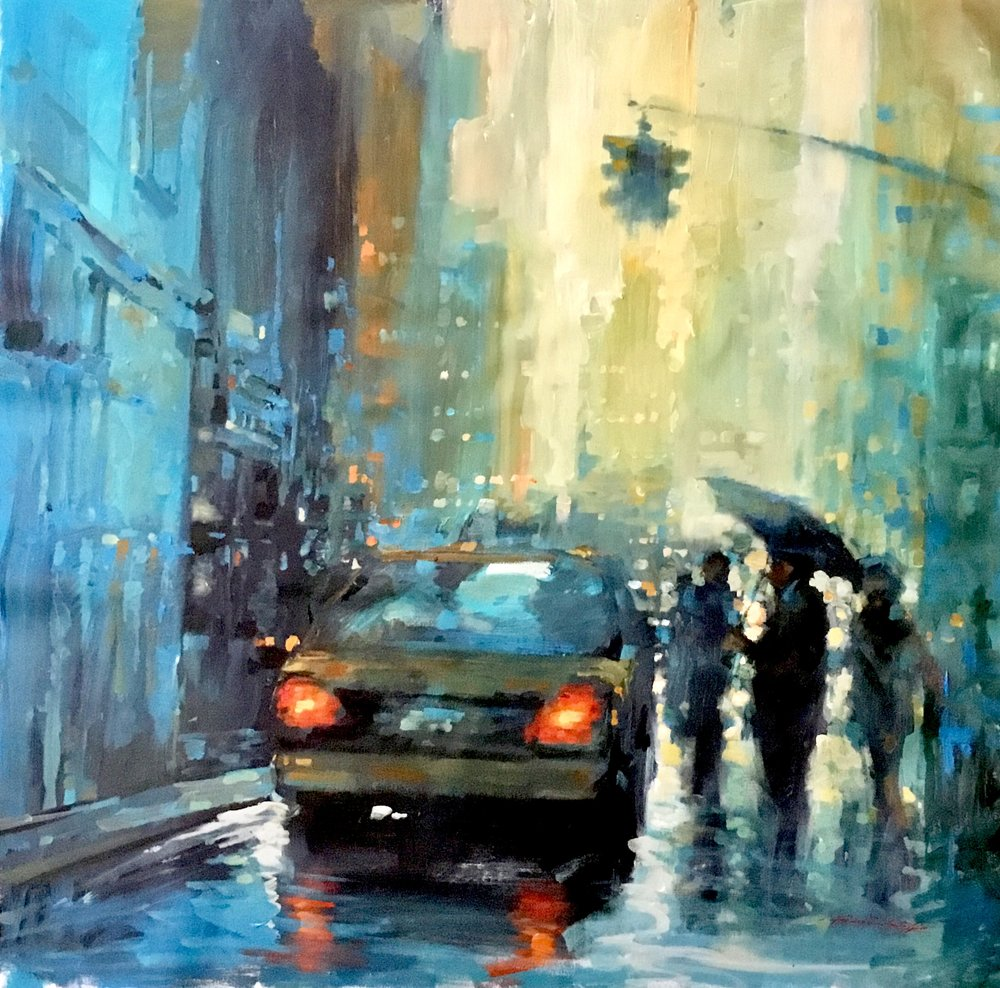 "David Hinchliffe ""Heavy Rain"" Acrylic on Canvas 32"" x 32"""