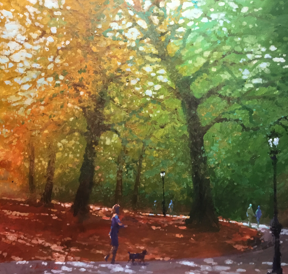"David Hinchliffe ""Walking the Dog"" Acrylic on Canvas 32"" x 29"""