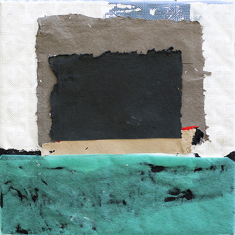 "Claire Bendiner ""Black Square"" Mixed media collage on wood, 16"" x 16"""