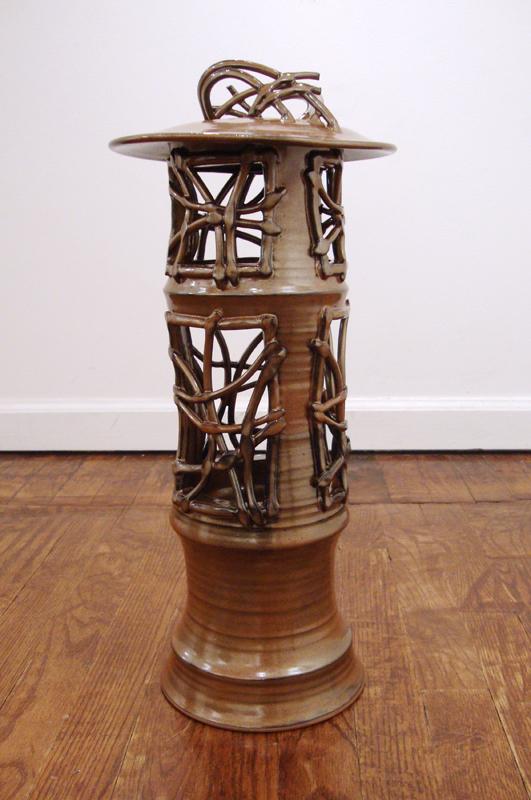 "Lisa Brzozowski ""Copper Penny Lantern"" Stoneware 19"" x 8"" x 8"""