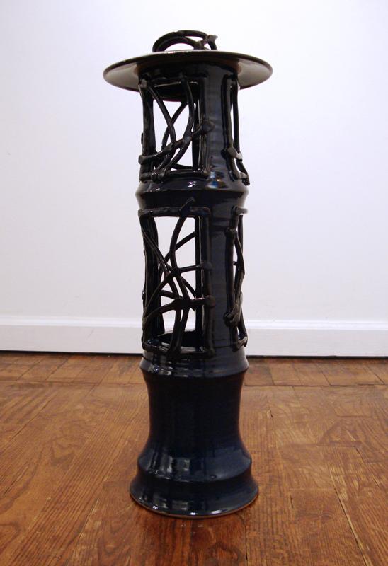 """Lisa Brzozowski """"Indigo Lantern"""" Stoneware 21"""" x 8"""" x 8"""""""