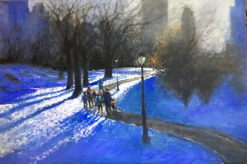 "David Hinchliffe ""Winter Sun"" Acrylic on Canvas 40"" x 60"" $4600"