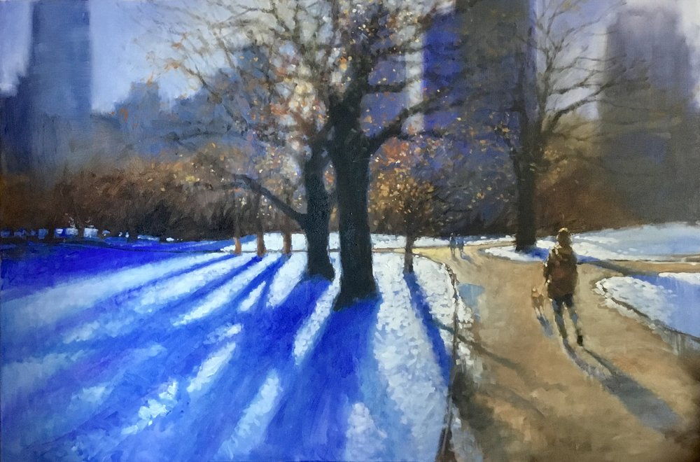 "David Hinchliffe "" Into the Light, Central Park"" Acrylic on Canvas 40"" x 60"" $4600"