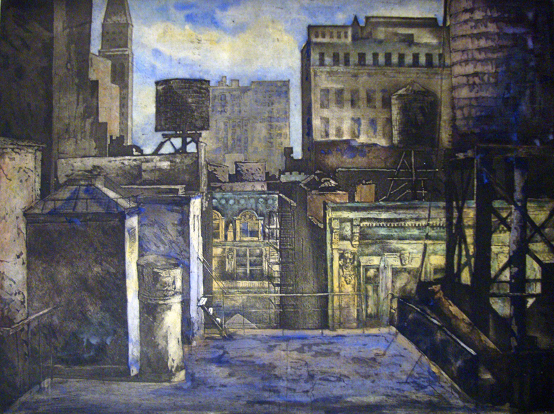 "Pavel Ouporov ""Middle Manhattan"" Colored etching 17.5"" x 23.5"""