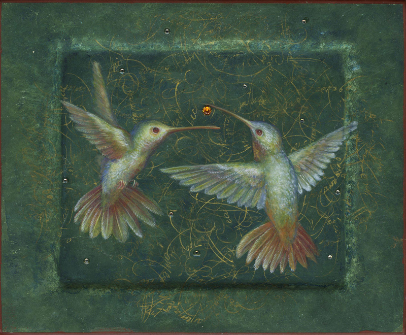 "Scherer & Ouporov ""The Dance of the Humming Birds"" Egg tempera, shell gold, swarovski crystals, Mexican fire opal on panel 6"" x 5"""