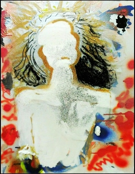 "Elaine Sutton ""Greg - Study in White"" Mixed media on canvas 16"" x 20"""
