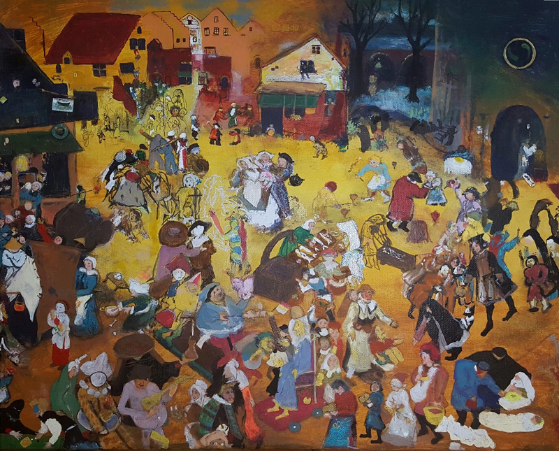 "Elaine Sutton ""Bruegel Carnival vs. Lent"" Mixed media on canvas 20"" x 16"""