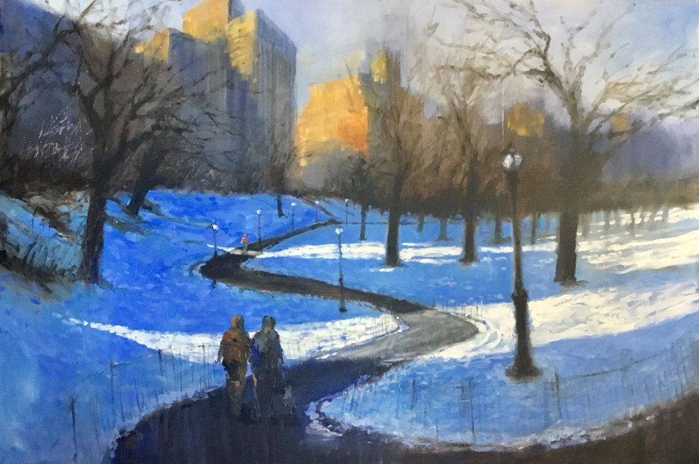 "David Hinchliffe ""Slanting Light, Central Park West"" Acrylic on canvas 40"" x 60"""