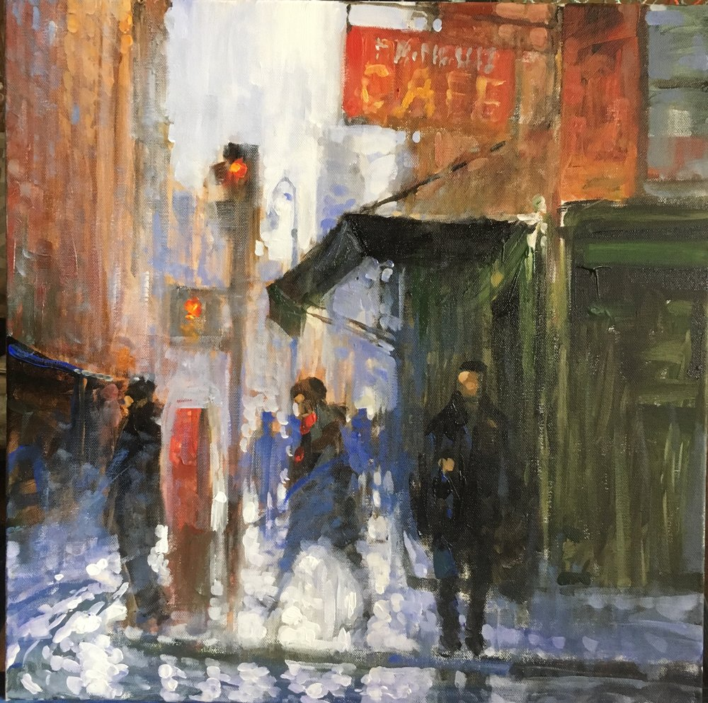 "David Hinchliffe ""Fanelli's Cafe"" Acrylic in canvas 18"" x 18"""