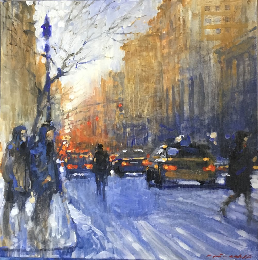"David Hinchliffe ""Park Avenue, Winter"" Acrylic on Canvas 18"" x 18"""