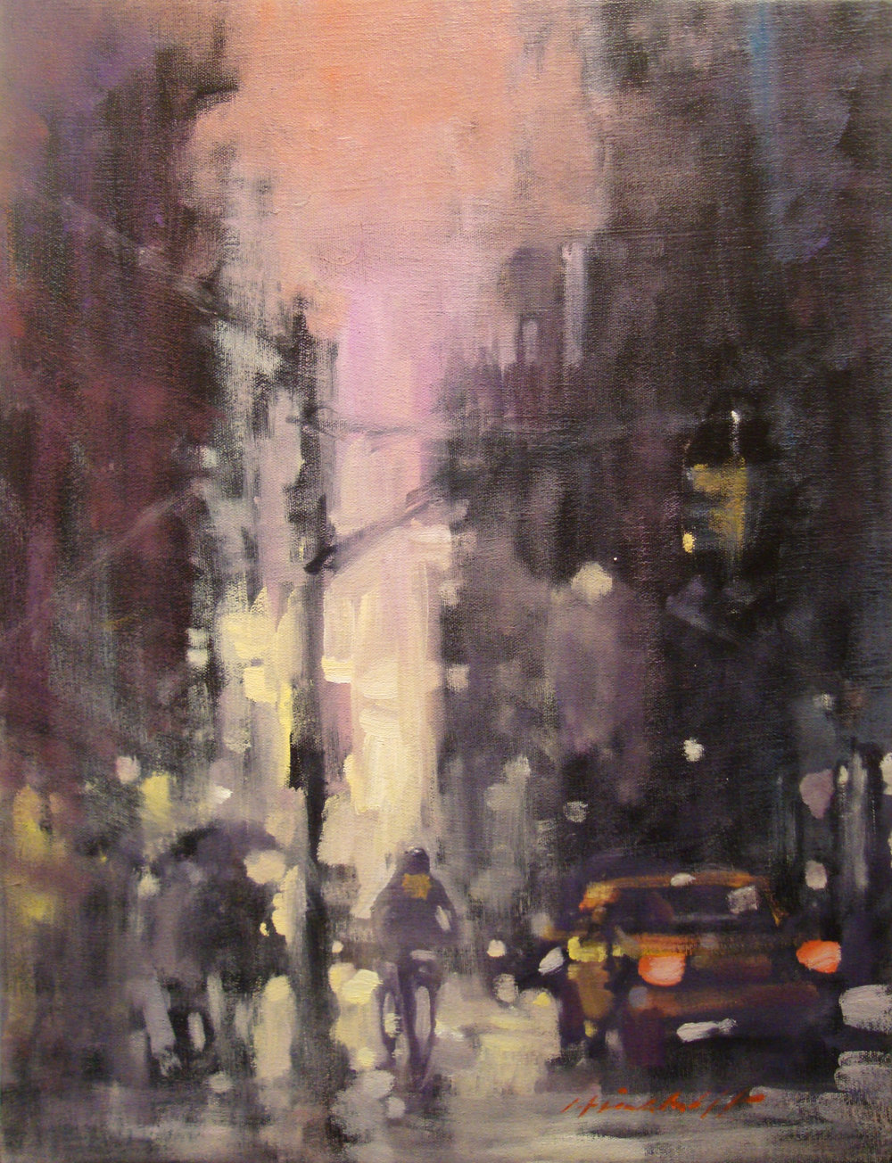"David Hinchliffe ""Brooklyn Dusk"" Oil on Canvas 16"" x 21"""