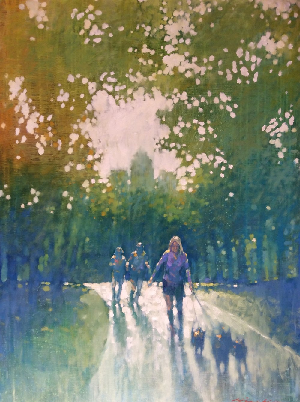 "David Hinchliffe ""Exercise, Central Park"" Oil on Canvas 36"" x 48"""