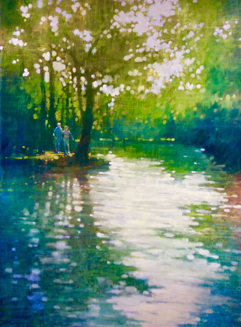 "David Hinchliffe ""Light, Central Park"" Oil on Canvas 48"" x 68"""