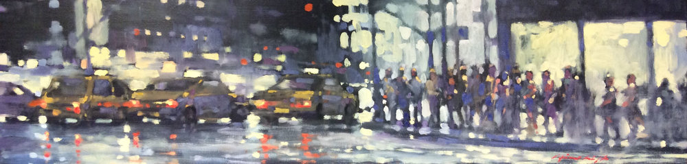 "David Hinchliffe ""Homage to Hopper"" Oil on Canvas 48"" x 12"""