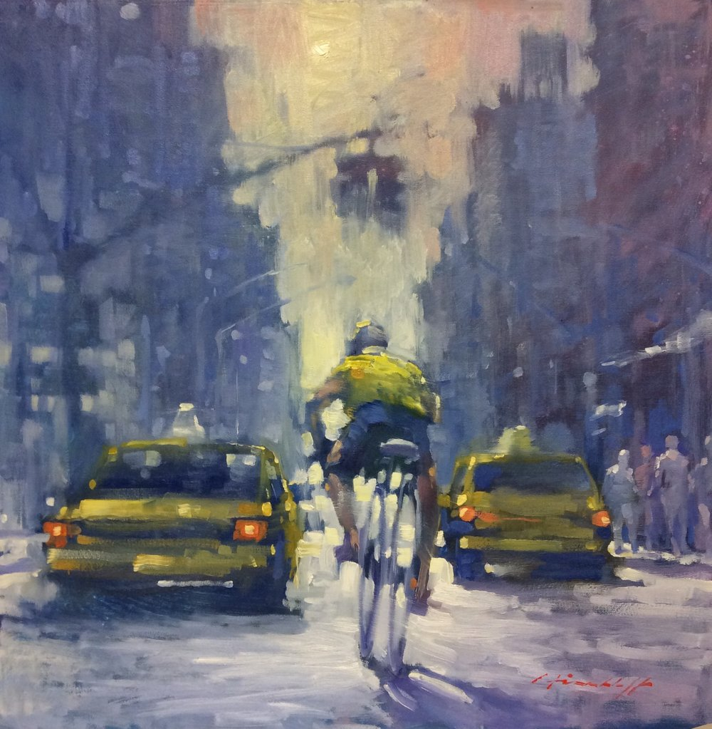 "David Hinchliffe ""Soho Cyclist"" Oil on Canvas 24"" x 24"""
