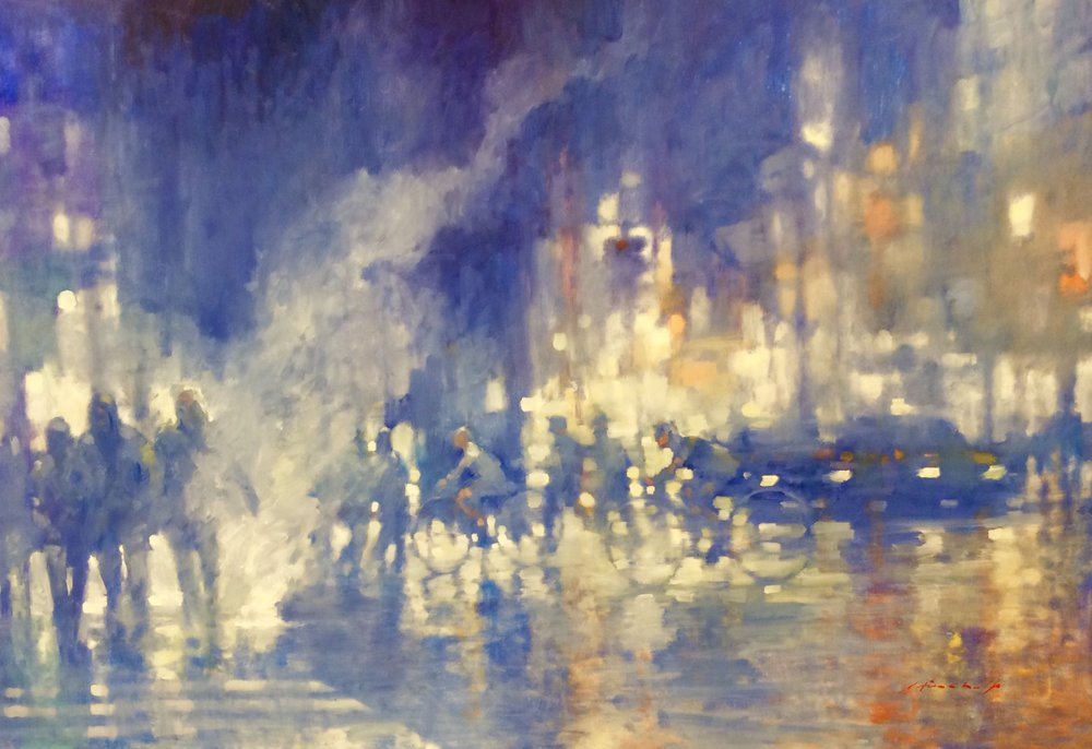 "David Hinchliffe ""Steam and Light"" Oil on Canvas 72"" x 48"""