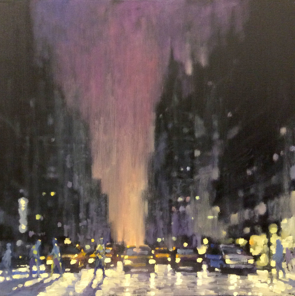 "David Hinchliffe ""Twilight, 42nd St."" Oil on Canvas 24"" x 24"""