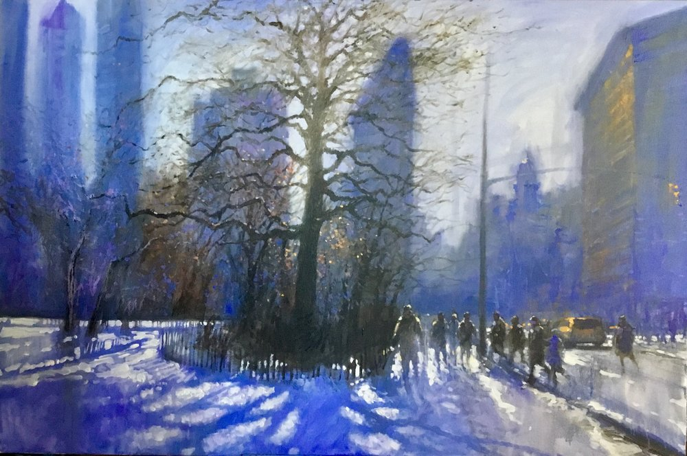"David Hinchliffe ""Into the Light, Madison Square Park"" Acrylic on Canvas 40"" x 60"" $4600"