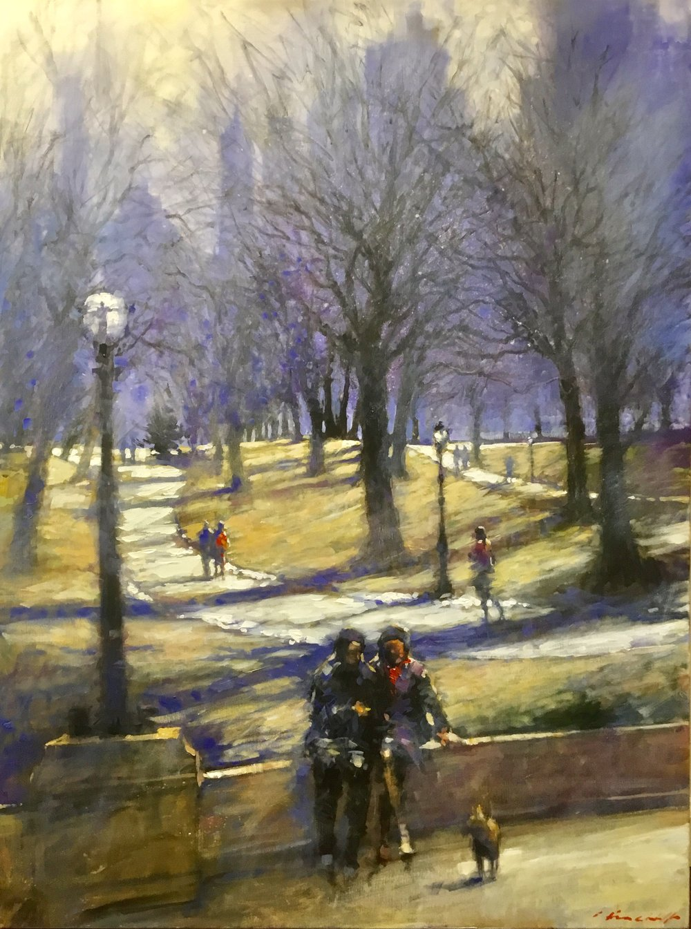 "David Hinchliffe ""Couple Sitting, Central Park"" Acrylic on Canvas 30"" x 40"""
