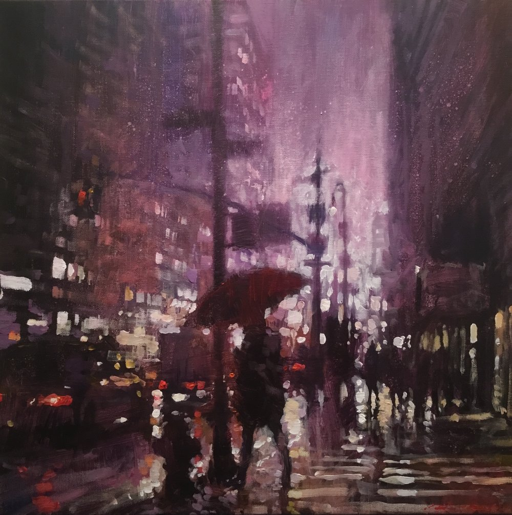 "David Hinchliffe ""Before Dawn, Seventh Avenue"" Acrylic on Canvas 18"" x 18"""