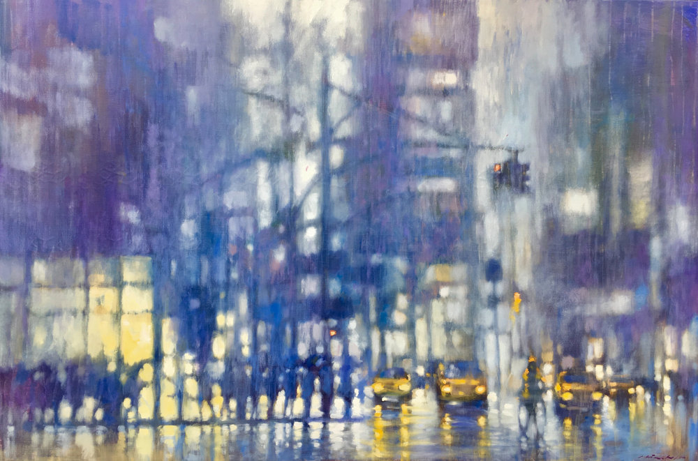 "David Hinchliffe ""Times Square Blues"" Oil on Canvas 48"" x 72"" $4900"