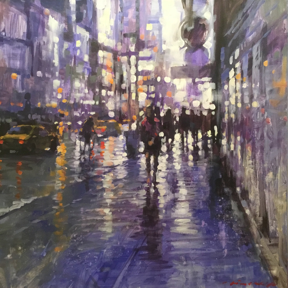 "David Hinchliffe ""Purple Rain, Seventh Avenue"" Acrylic on Canvas 18"" x 18"""