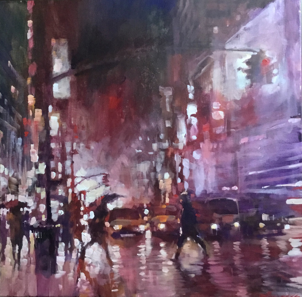 "David Hinchliffe ""Crossing at 42nd. St. at 5am, Winter"" Acrylic on Canvas 18"" x 18"" $1200"