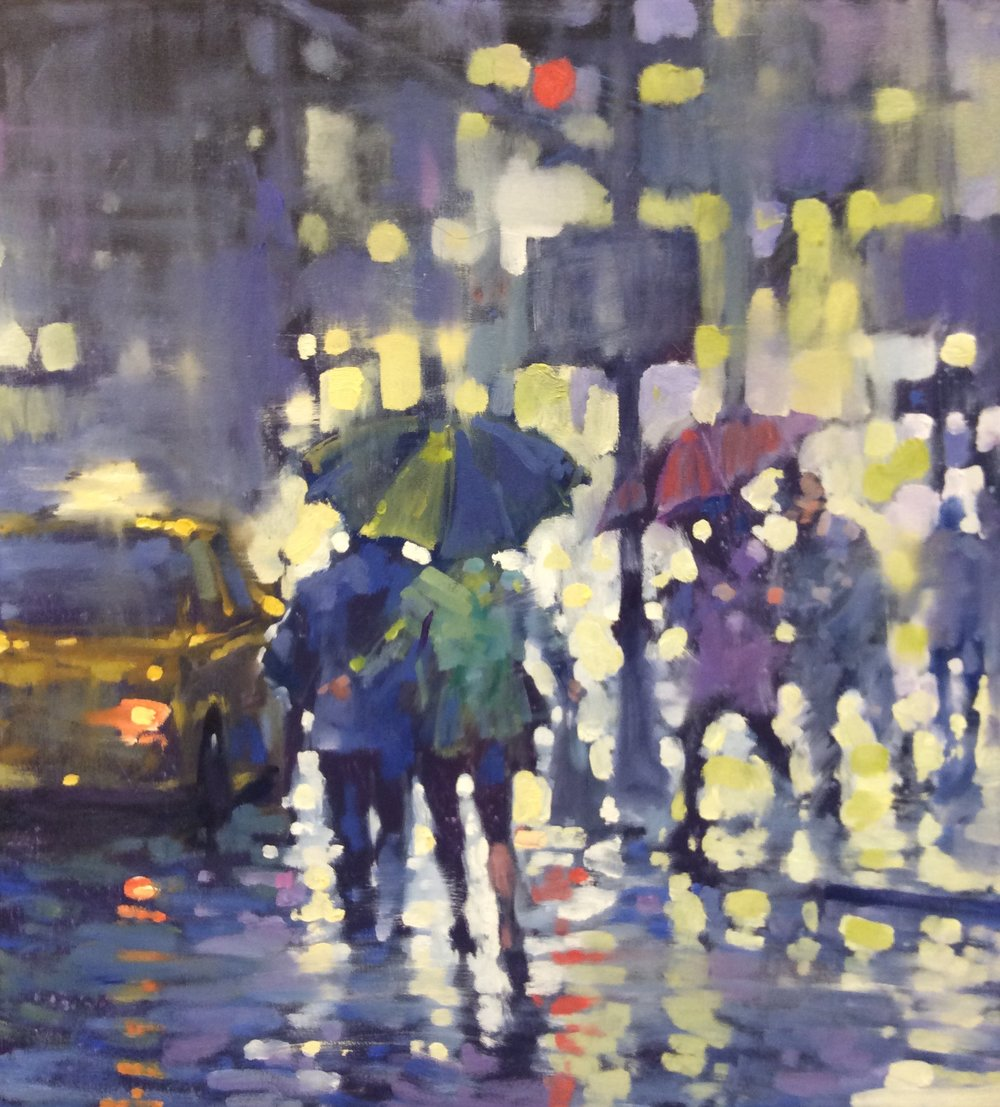 "David Hinchliffe ""Couples in Rain"" Oil on Canvas 24"" x 24"""