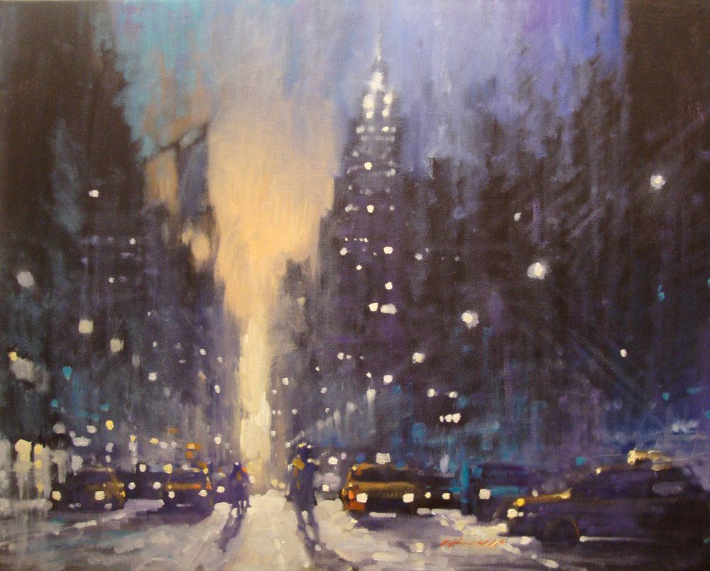 "David Hinchliffe ""Empire State Dawn"" Oil on Canvas 36"" x 29"""
