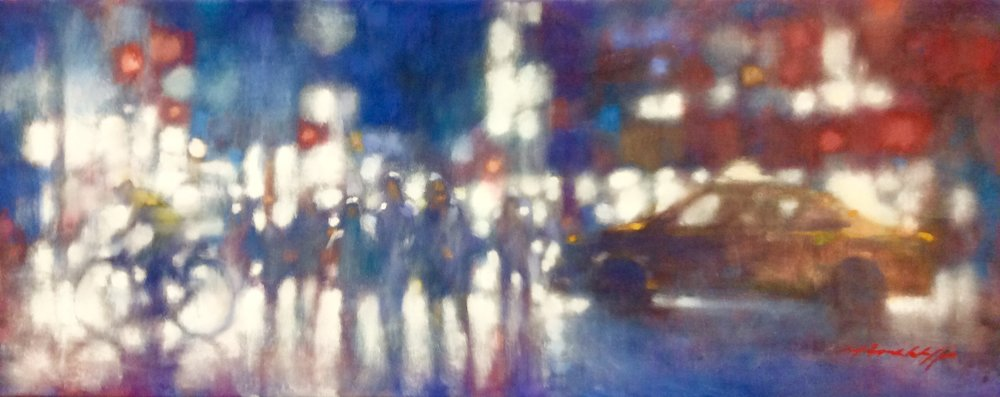 "David Hinchliffe ""Night Haze"" Oil on Canvas   48"" x 18"""
